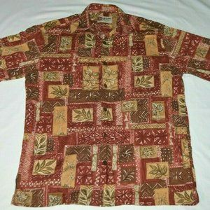 Hilo Hattie Maroon Tan Tropical Foliage Men Hawaii